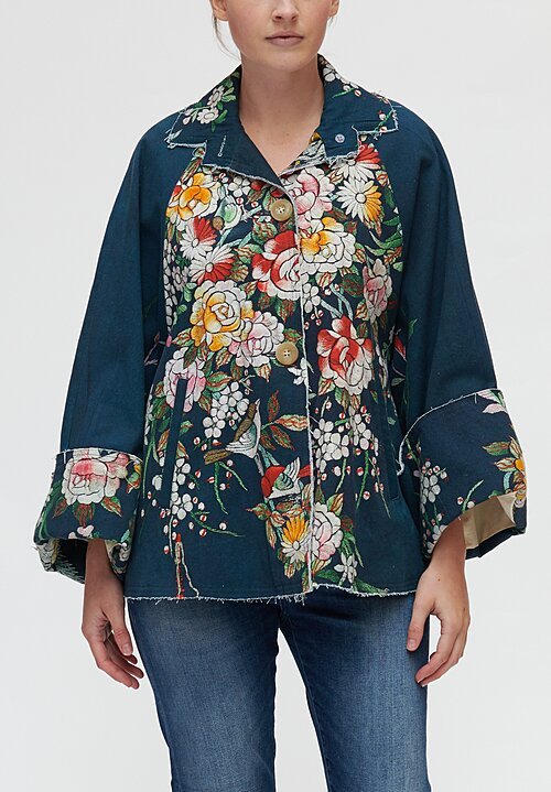 By Walid Marion Floral Embroidery Print Jacket in Blue Floral/ Bird
