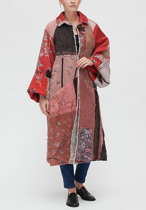 By Walid Liza Chinese Panel Coat in Red Multi
