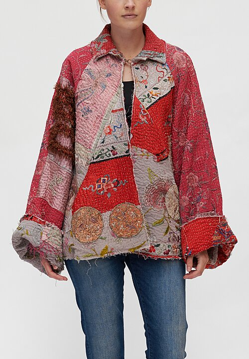 By Walid Judy Chinese Panel Judy Coat in Red Multi