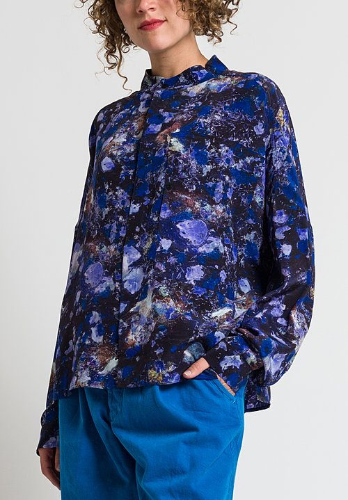Anntian Printed Silk Shirt in Purple & Blue