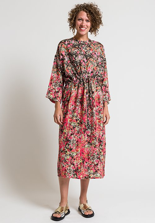 Anntian Simple Printed Silk Dress in Pink & Black