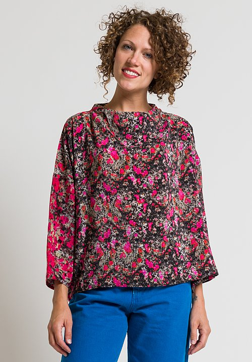 Anntian Short Asymmetrical Silk Top in Pink & Black