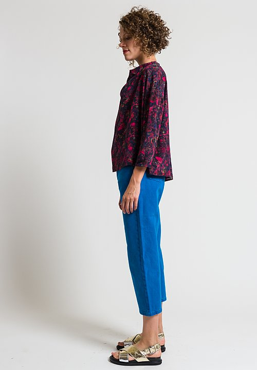 Anntian Short Asymmetrical Silk Top in Raspberry & Black