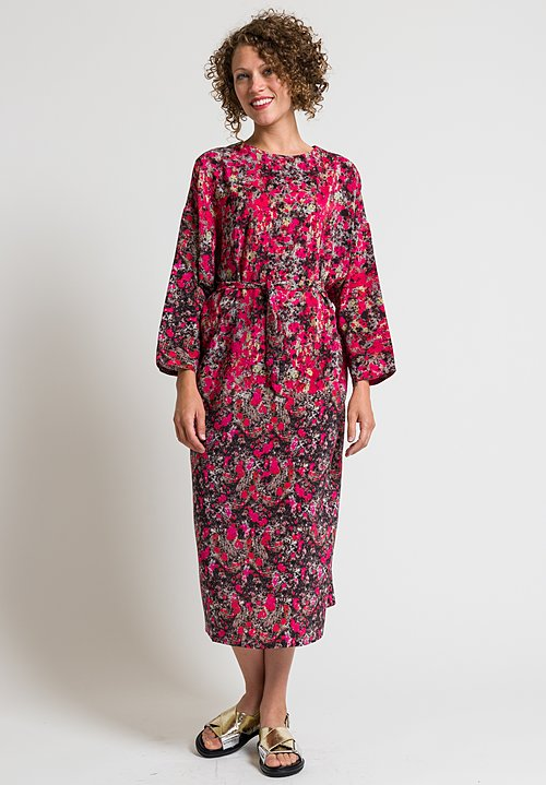 Anntian Easy Oversized Silk Dress in Pink & Black