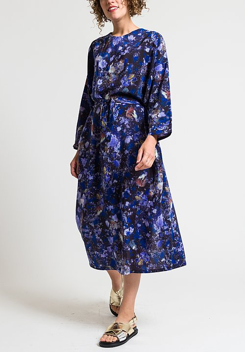 Anntian Easy Oversized Silk Dress in Purple & Blue
