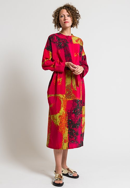 Anntian Easy Oversized Silk Dress in Raspberry & Yellow