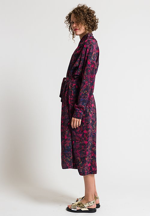 Anntian Long Silk Shirt Dress in Raspberry & Black