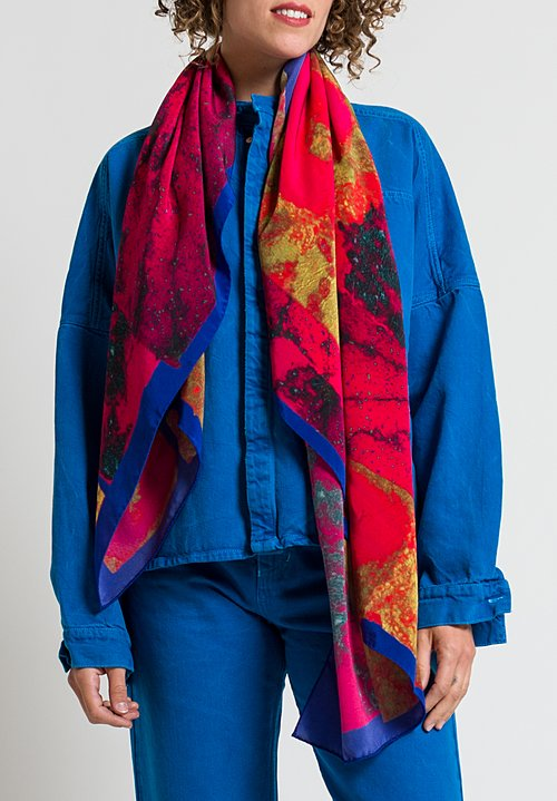 Anntian Printed Silk Scarf in Raspberry & Yellow