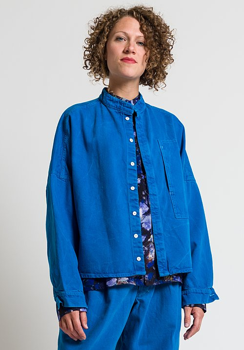Anntian Relaxed Organic Cotton Jean Jacket in Blue