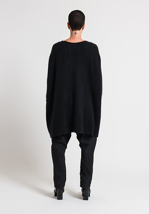 Rundholz Oversized Wool & Racoon Tunic Sweater in Black