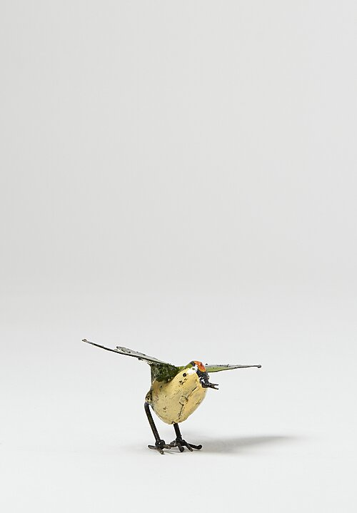 Hand-Painted Recycled Metal Medium Kinglet Bird