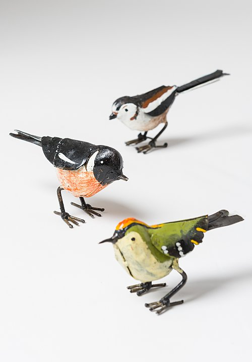 Hand-Painted Recycled Small Metal European Stonechat Bird