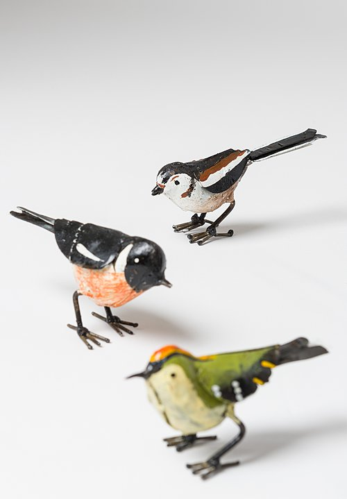 Hand-Painted Recycled Metal Small Long-Tailed Tit Bird