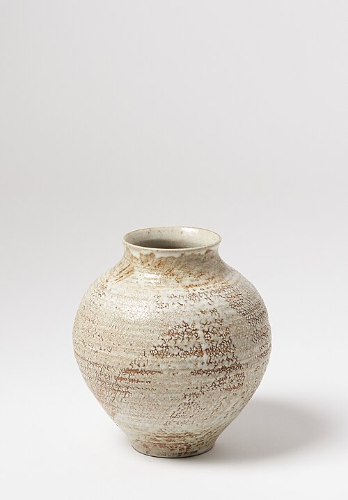 Peter Speliopoulos Large Ceramic Pot with Crackle Finish in Beige