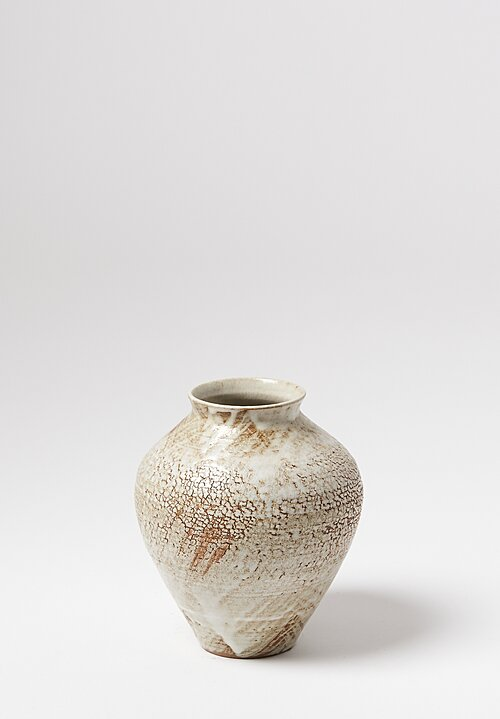 Peter Speliopoulos Medium Ceramic Pot with Crankle Finish in Beige