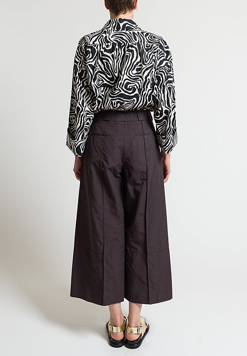 Marni Cotton/ Linen Light Faille Pants in Metal Brown