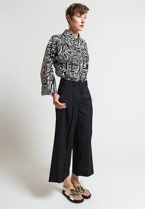 Marni Tropical Wool Faille Pants in Black