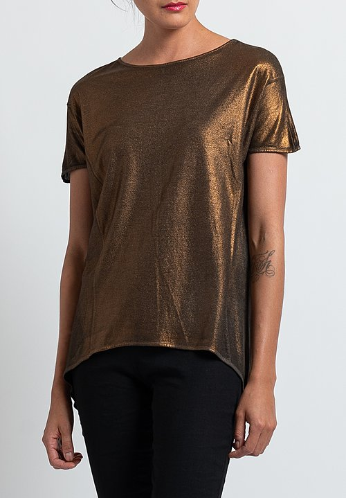 Avant Toi Metallic T-Shirt in Black/ Chocolate