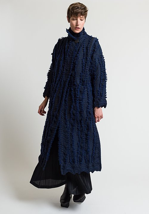 Issey Miyake Eagle Coat in Navy