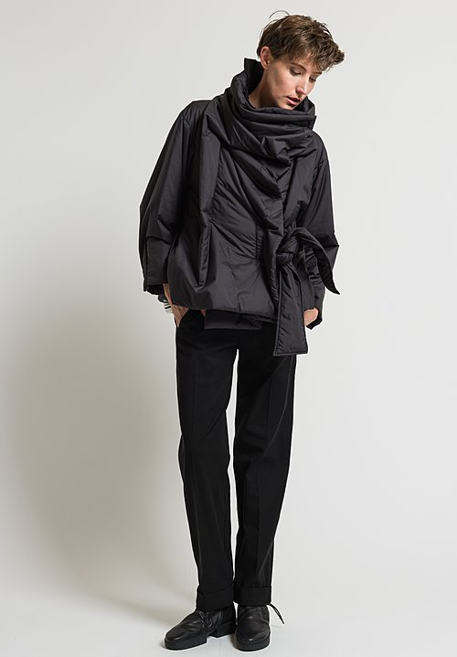 Issey Miyake Square Puffer Coat in Black