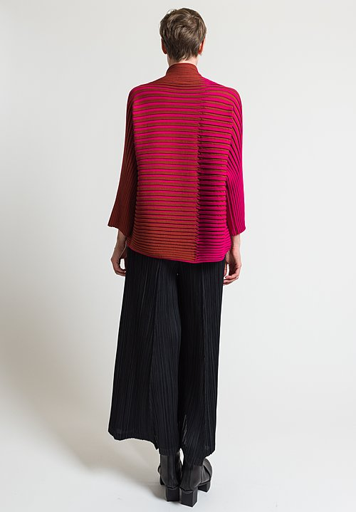 Issey Miyake 3D Stripe Knit Sweater in Bright Pink