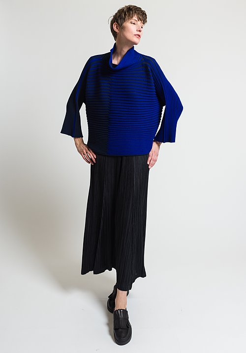 Issey Miyake 3D Stripe Knit Sweater in Blue
