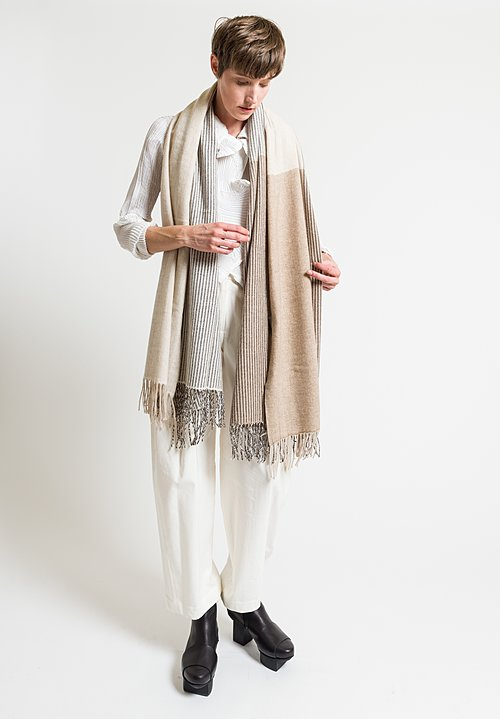 Issey Miyake Cashmere Forest Scarf in Natural