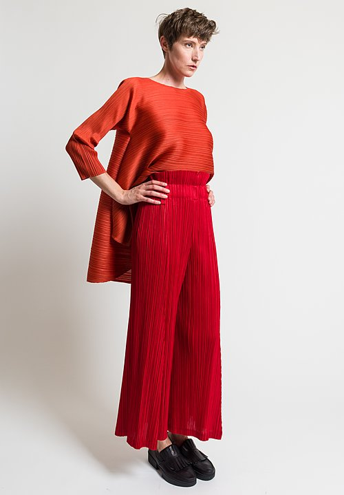 Issey Miyake Pleats Please Thicker Bottom Wide Leg Pants in Red