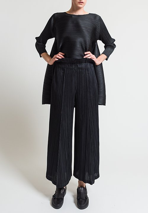 Issey Miyake Pleats Please Thicker Bottom Wide Leg Pants in Black