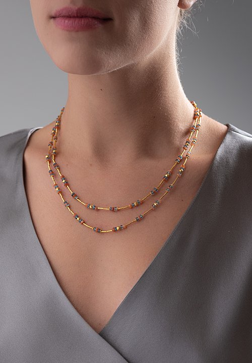 Greig Porter 18K, Aquamarine and Sunstone Single Strand Necklace