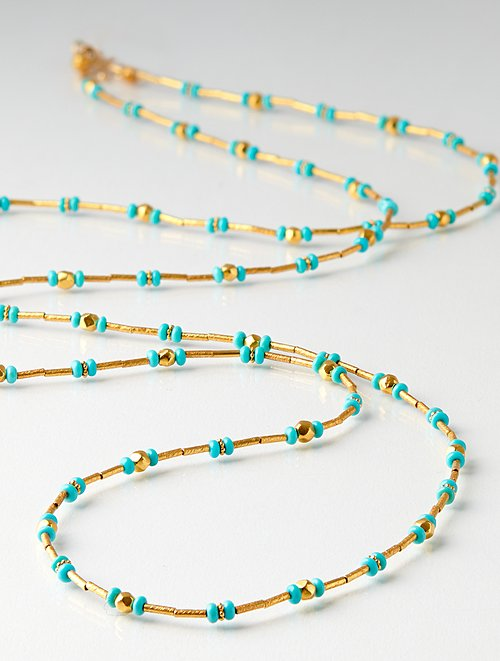 Greig Porter 18K, Sleeping Beauty Turquoise Long Bead Necklace