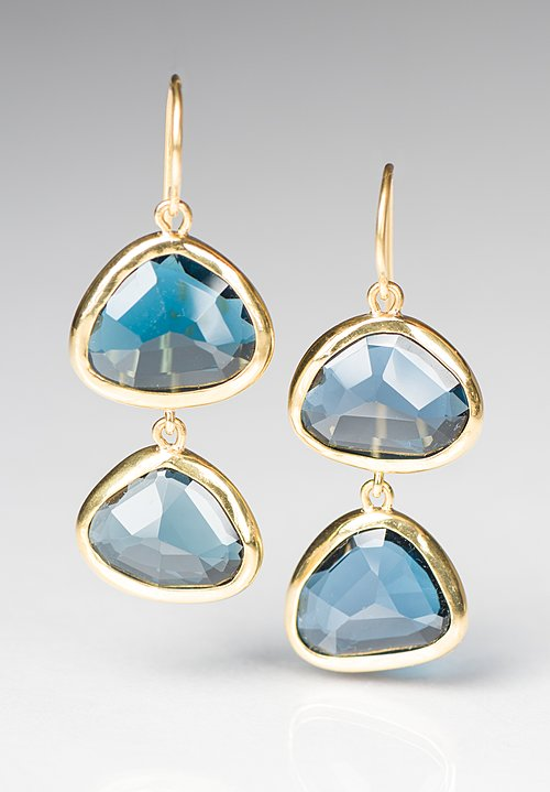 Greig Porter London Blue Topaz Double Drop Earrings