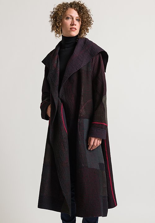 Mieko Mintz Long 4-Layer Muji Patch Coat in Black