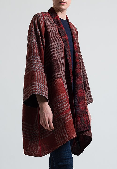 Mieko Mintz 2-Layer Long Jacket in Black/ Red