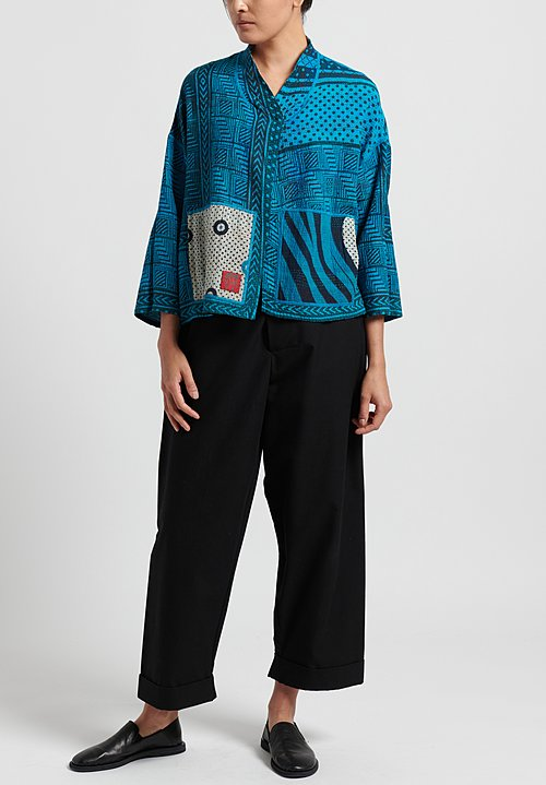 Mieko Mintz 2-Layer Stand Collar Cropped Jacket in Turquoise/ Navy