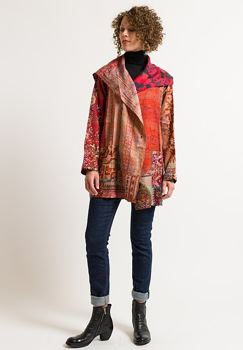 Mieko Mintz 2-Layer Jacket in Apricot/ Red