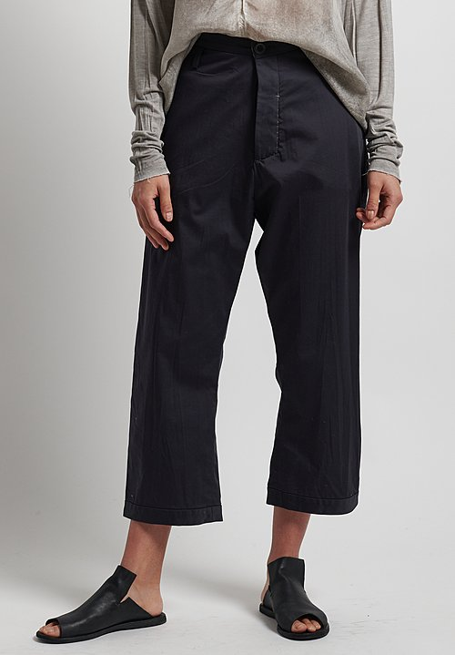 Umit Unal Distressed Drop Crotch Trousers in Black