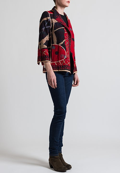 Mieko Mintz 4-Layer Dot & Paisley Short Jacket in Red/ Black