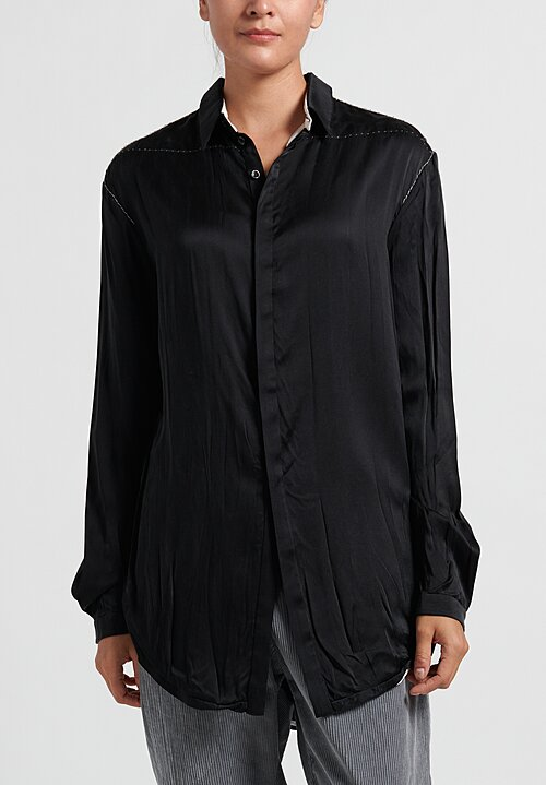 Umit Unal Silk Top Stitch Accent Long Button Shirt in Black