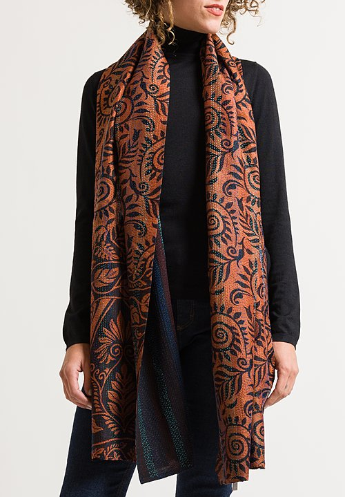 Mieko Mintz Vintage Silk Patched Scarf in Rust/ Black