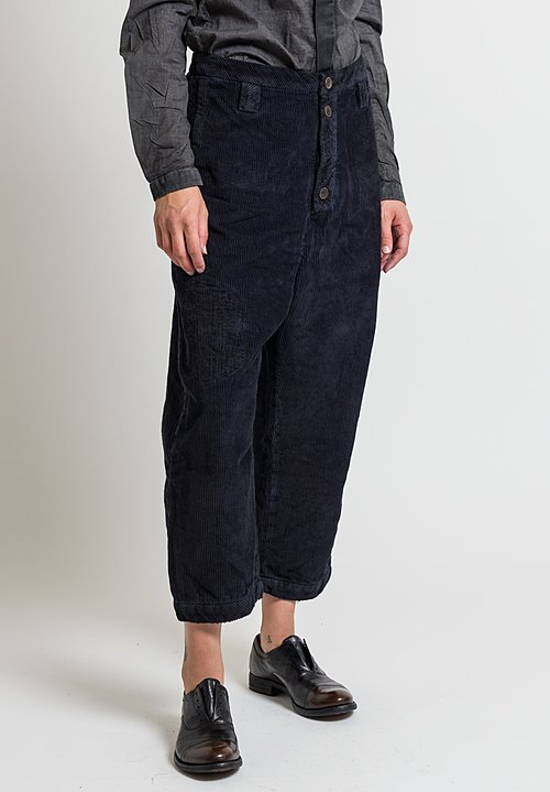 Umit Unal Corduroy Drop Crotch Pants in Navy