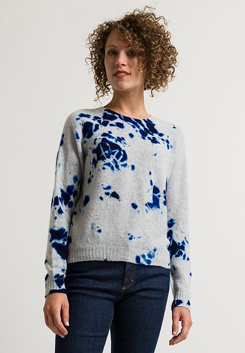 Suzusan Short Shibori Sweater in Blue/ Light Grey