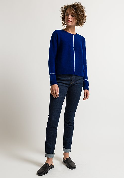 Suzusan Short Shibori Line Sweater in Blue/ Light Grey