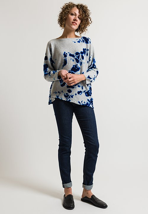 Suzusan Shibori Sweater in Blue/ Light Grey