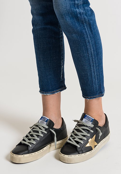 Golden Goose Hi Star Sneakers in Black/ Gold Star