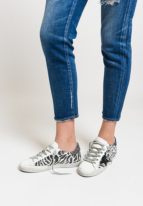 Golden Goose Leopard Superstar Sneakers in Black