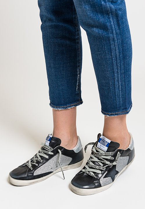 Golden Goose Glitter Superstar Sneakers in Silver Glitter/ Black