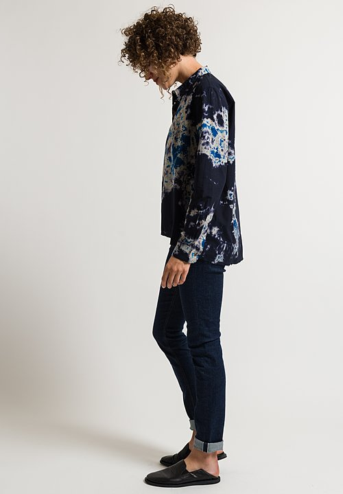 Suzusan Frayed Shibori Shirt in Blue/ Navy
