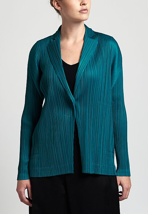 Issey Miyake Pleats Please October Jacket in Turquoise