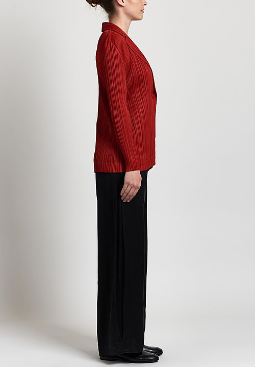 Issey Miyake Pleats Please October Jacket in Red
